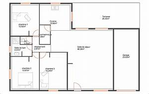 plan maison 5 chambres plain pied 15 110 m2 surf hab With lovely plan de maison 110m2 2 plan de maison carre