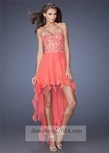 Coral Floral Lace High Low Prom Dresses 2014 #2070232 ...