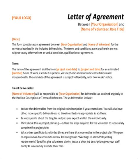 sample agreement letter  examples  word