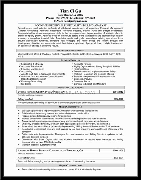 resume exle accounting document
