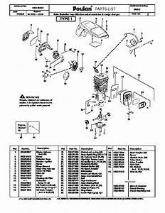 Poulan P3416 Chainsaw Parts List  2008