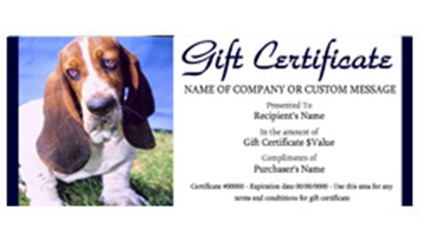 pet care gift certificate templates easy   gift
