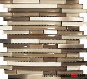 10sf stainless steel cream beige linear glass mosaic tile for Glass mosaic kitchen backsplash
