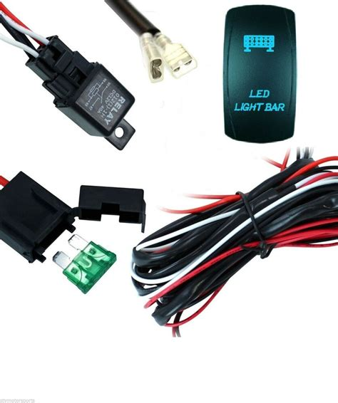 led light bar 40 wiring harness with relay and backlit blue switch ebay