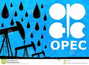 Opec Logo  Oil Drops And Silhouette Industrial Oil Pump Jack Stock Image