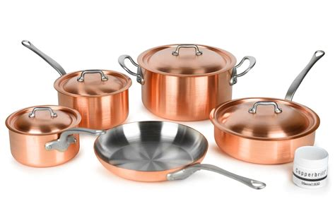 mauviel mheritage  mm brushed copper cookware set  piece cutlery