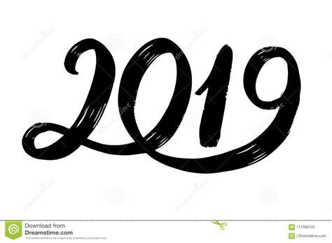 Hand Drawn Fugures 2019, Symbol Of New Year. New Year