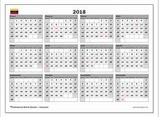 Calendario 2018, Venezuela