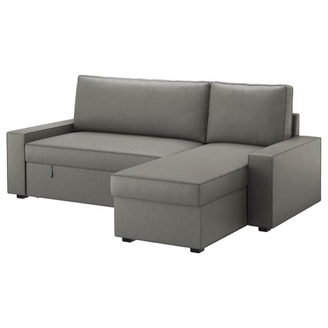 chaise volutive ikea vilasund sofa bed with chaise longue borred grey green ikea