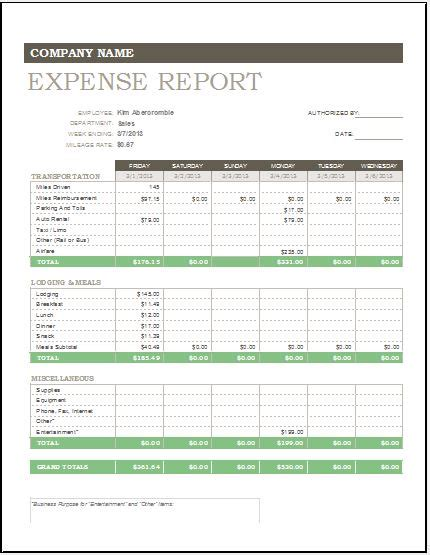 daily weekly monthly expense report template excel