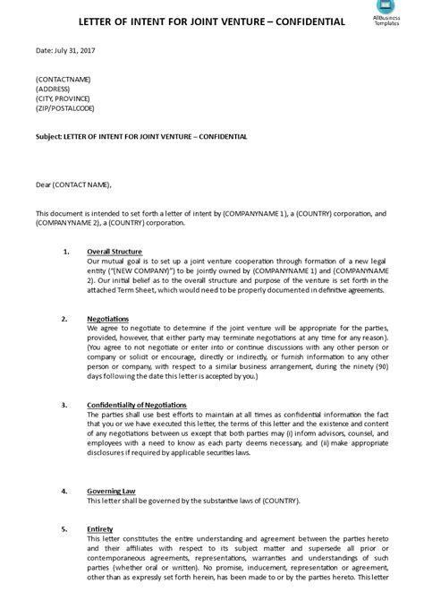 joint venture letter  intent template templates
