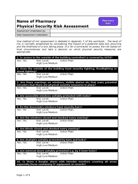Physical Security Survey Template by Physical Security Risk Assessment Physical Security