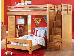 Colorful, Twin, Step, Loft, Bed, With, Student, Desk