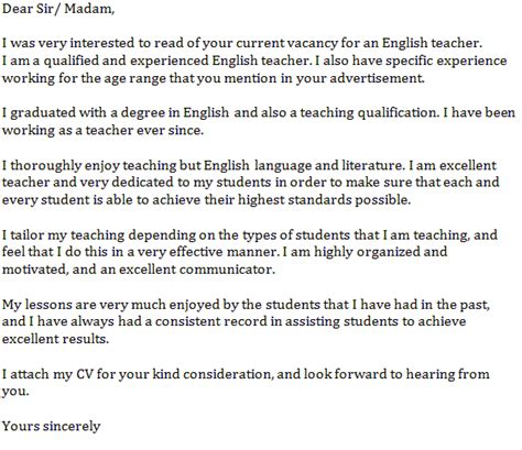 english teacher cover letter  learnistorg