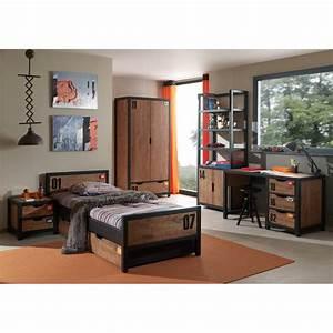 Chambre Garcon Complete : chambre compl te enfant 5p alex marron noir ~ Teatrodelosmanantiales.com Idées de Décoration