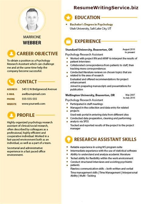 Importance Of Writing Resumes by Psychology Research Assistant Resume