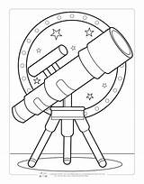 Coloring Space Pages Sheets Printable Telescope Fun Activity Itsybitsyfun Books Colouring Children Toddlers Spaceship Printables Ausmalbilder Astronaut Die Solar System sketch template