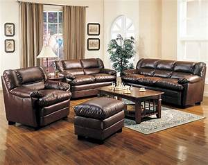 Brown leather living room sofa sets brown leather living for Living room leather furniture
