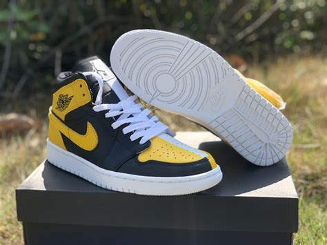 2020 New Air Jordan 1 Mid Black Yellow White Online For Sale