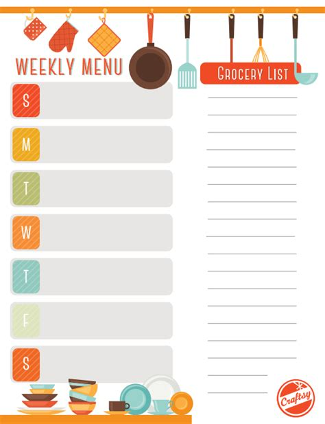 Weekly Meal Planner Template Get A Free Printable Weekly Meal Planner On Craftsy