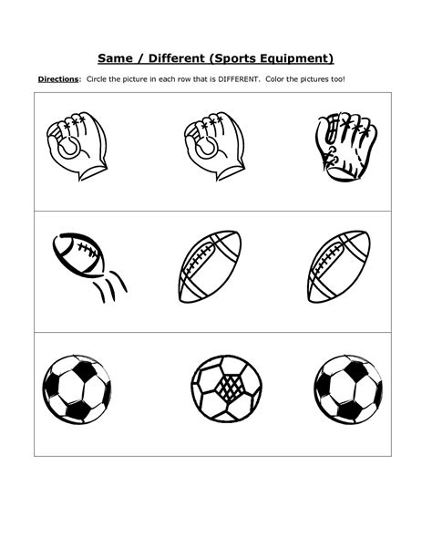 same and different worksheets for kindergarten same and