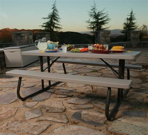 6 folding picnic table lifetime 22119 6 foot folding picnic table bench in putty