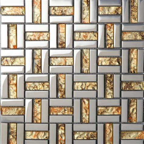 Wholesale Strip Glass Mosaic Wall Tile Gold Silver Mixed