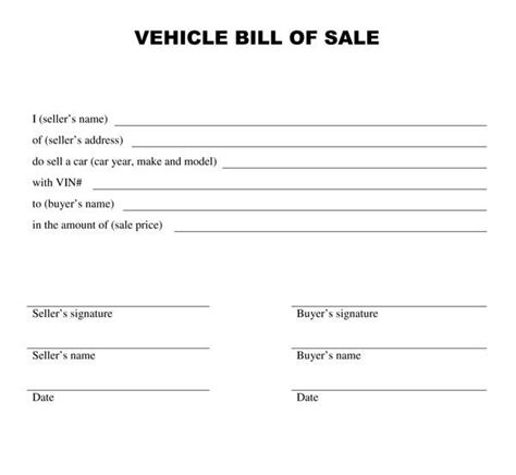 printable bill  sale templates print paper templates