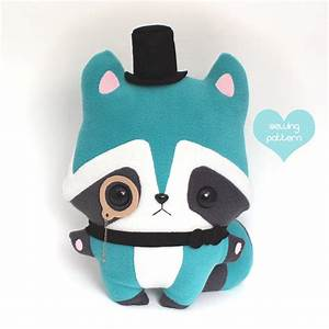 PDF sewing pattern Raccoon stuffed animal kawaii woodland