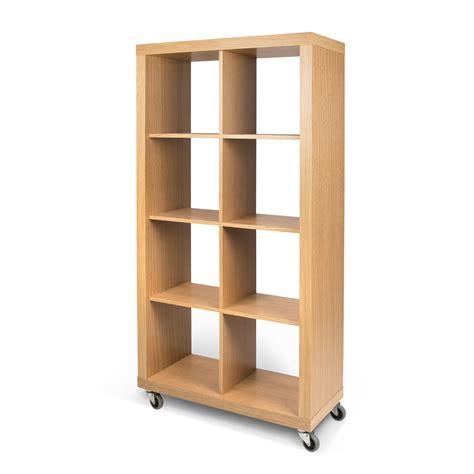 placage meuble cuisine etagère 8 niches en bois sur roulettes l86 cm rolly