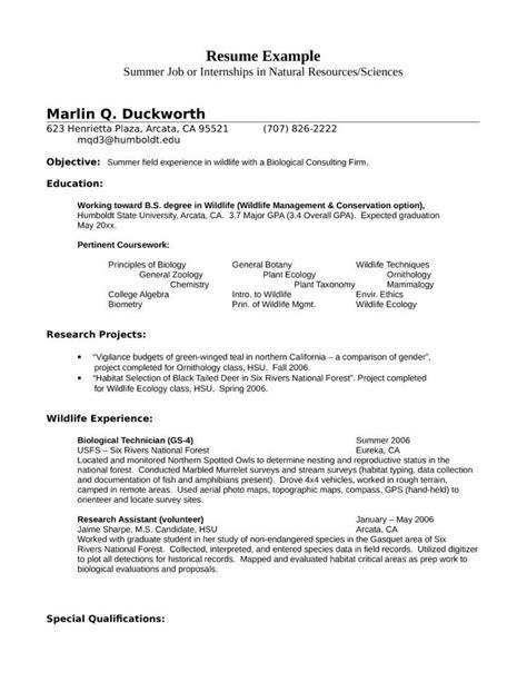 zoology resume exles exles resume resumeexles