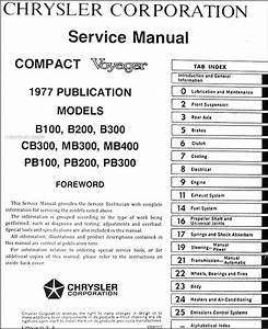 1977 Dodge  U0026 Plymouth Van Repair Shop Manual Original