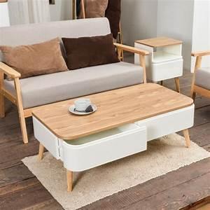Table Basse Blanc Bois : table basse scandinave bergen blanc et bois ~ Teatrodelosmanantiales.com Idées de Décoration