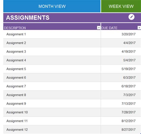 student assignment planner  word templates
