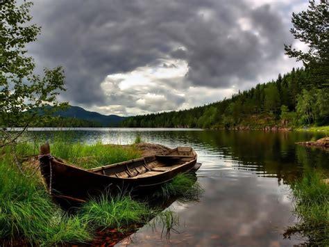 wallpaper hd boat grass lake mountain forest