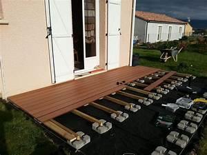 Pose Terrasse Composite Sur Dalle Beton : pose terrasse lame composite sur plot beton projets ~ Carolinahurricanesstore.com Idées de Décoration