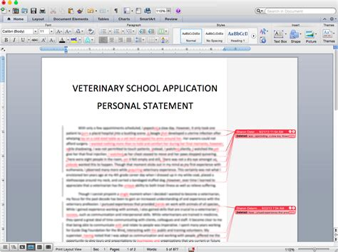 personal statement resume editing in vet school
