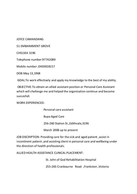 Allied Health Professional Resume by Joyce Camandang Allied Health Assistant Resume