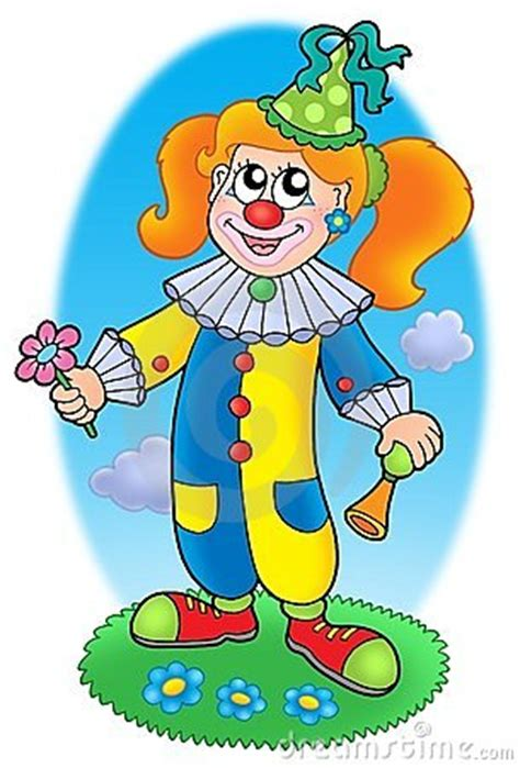 cartoon clown girl  meadow stock photography image