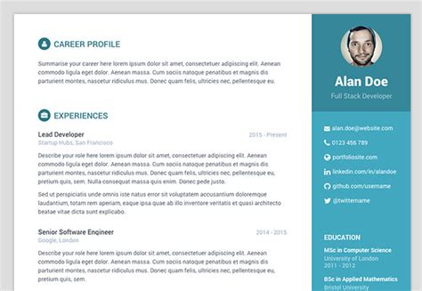 Resume Theme by Free Bootstrap Resume Cv Template For Developers Orbit