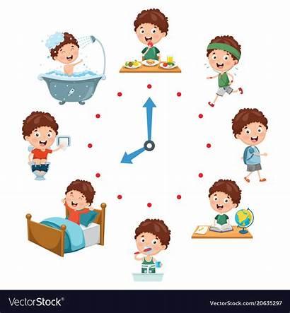 Routine Daily Activities Vector Cartoon Vectorstock Schedule