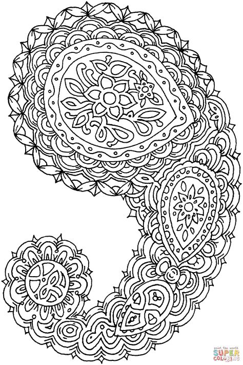 paisley coloring page  printable coloring pages