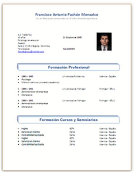 Formato De Resumen Curricular Para Rellenar by Formatos Colombia Formatos Hv