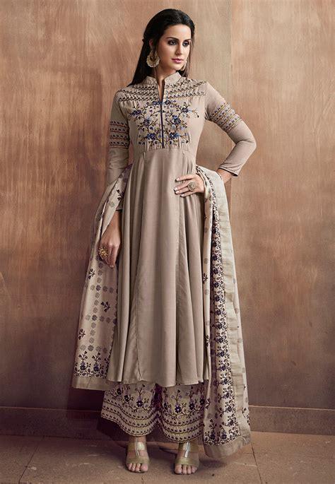 embroidered muslin cotton pakistani suit light fawn kch