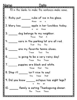 article and demonstrative adjectives practice and