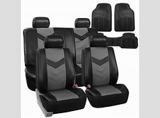 Faux Leather Car Seat Covers for Car Gray Black W Heavy