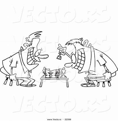 Chess Coloring Pieces Cartoon Pages Playing Vector