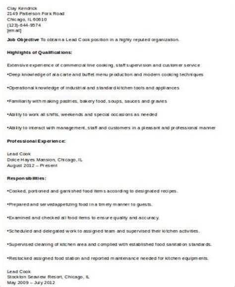 sle cook resume 8 exles in word pdf