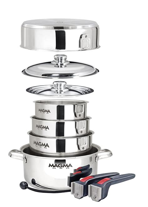 boat steel galley cookware stainless cooking gear storage power convenient usage less magma nesting starter seven piece