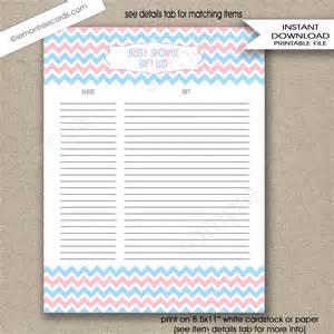 Baby Shower Gift List Printable